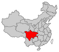 Провинция Сычуань на карте Китая