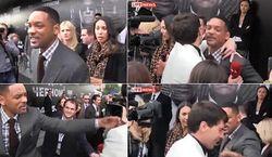 Уилл Смит влепил журналисту пощечину в ответ на поцелуй в щечку