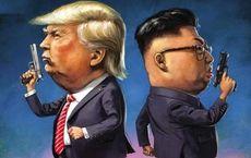 Карикатура на обоюдные угрозы Дональда Трампа и Ким Чен Ына  (Newsweek)