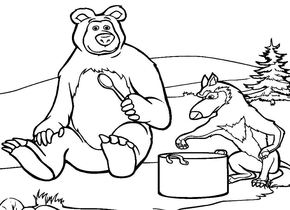 рисунки из мультика маша и медведь