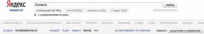 Число упоминаний Луганска в Яндекс.Новости